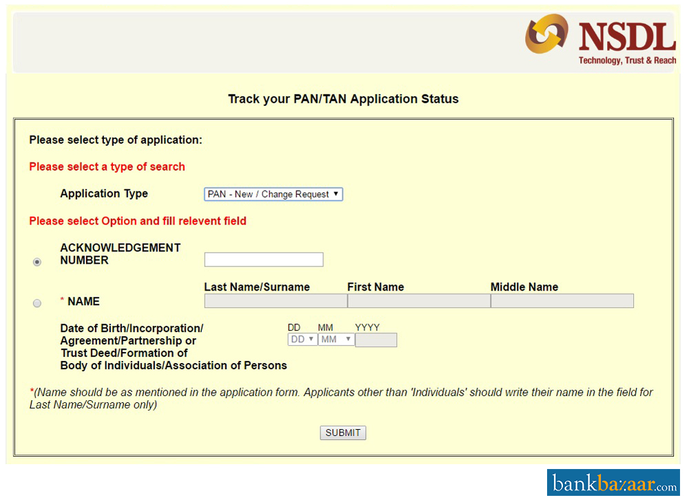 एनएसडीएल पैन कार्ड स्थिति