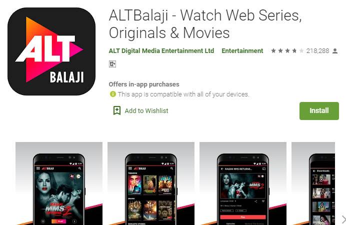 लाइव टीवी स्ट्रीमिंग ऐप altbalaji